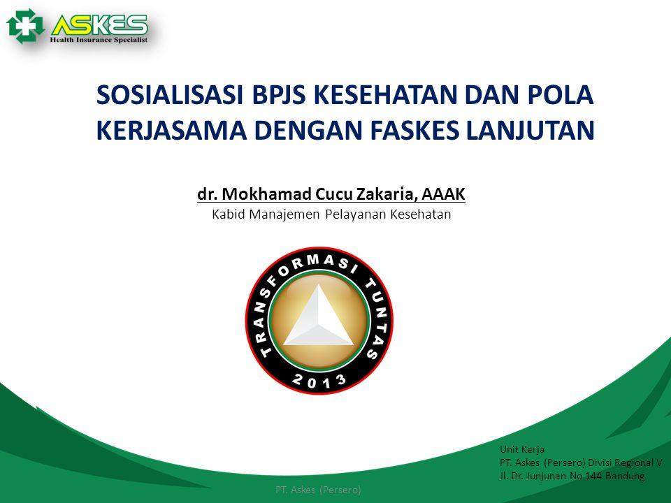 Unit Kerja PT. Askes (Persero) Divisi Regional V Jl. Dr. Junjunan No 144 Bandung PT. Askes (Persero) SOSIALISASI BPJS KESEHATAN DAN POLA KERJASAMA DEN
