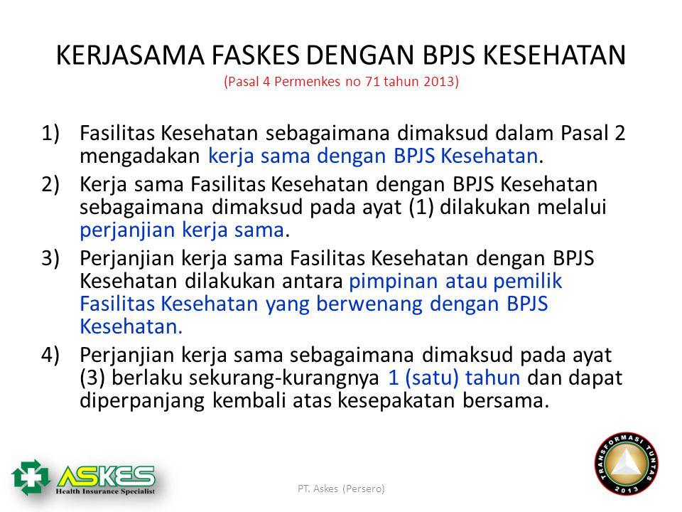 KERJASAMA FASKES DENGAN BPJS KESEHATAN (Pasal 4 Permenkes no 71 tahun 2013) 1)Fasilitas Kesehatan sebagaimana dimaksud dalam Pasal 2 mengadakan kerja