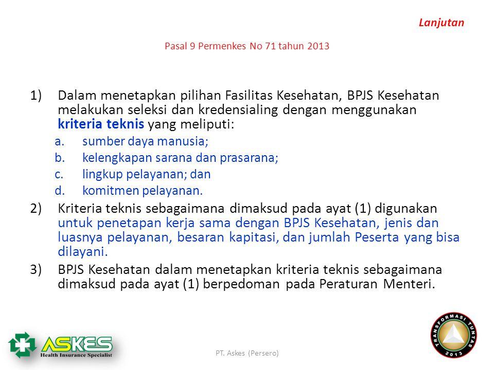 Pasal 9 Permenkes No 71 tahun 2013 1)Dalam menetapkan pilihan Fasilitas Kesehatan, BPJS Kesehatan melakukan seleksi dan kredensialing dengan menggunak