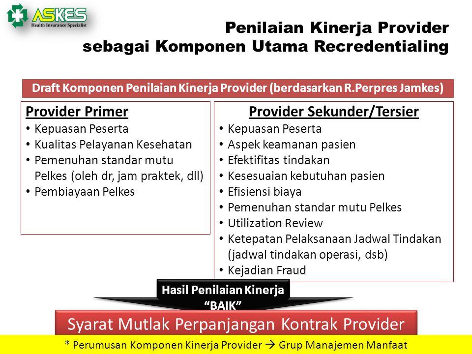 40 Penilaian Kinerja Provider sebagai Komponen Utama Recredentialing Draft Komponen Penilaian Kinerja Provider (berdasarkan R.Perpres Jamkes) Provider