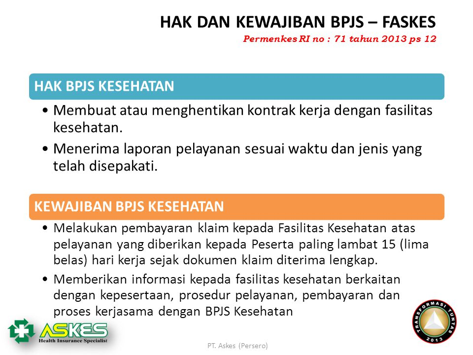 PT. Askes (Persero) HAK DAN KEWAJIBAN BPJS – FASKES HAK BPJS KESEHATAN Membuat atau menghentikan kontrak kerja dengan fasilitas kesehatan. Menerima la