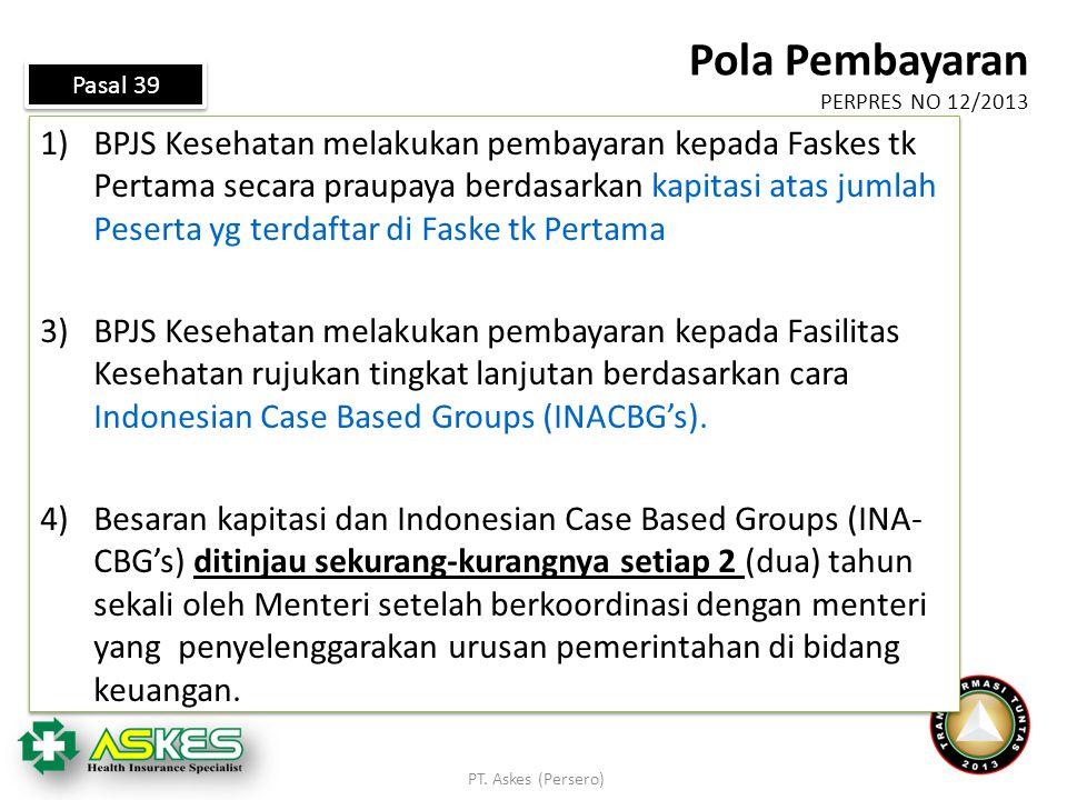 1)BPJS Kesehatan melakukan pembayaran kepada Faskes tk Pertama secara praupaya berdasarkan kapitasi atas jumlah Peserta yg terdaftar di Faske tk Perta
