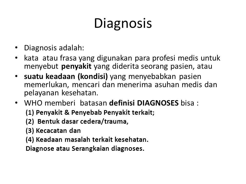 Diagnosis Diagnosis adalah: kata atau frasa yang digunakan para profesi medis untuk menyebut penyakit yang diderita seorang pasien, atau suatu keadaan