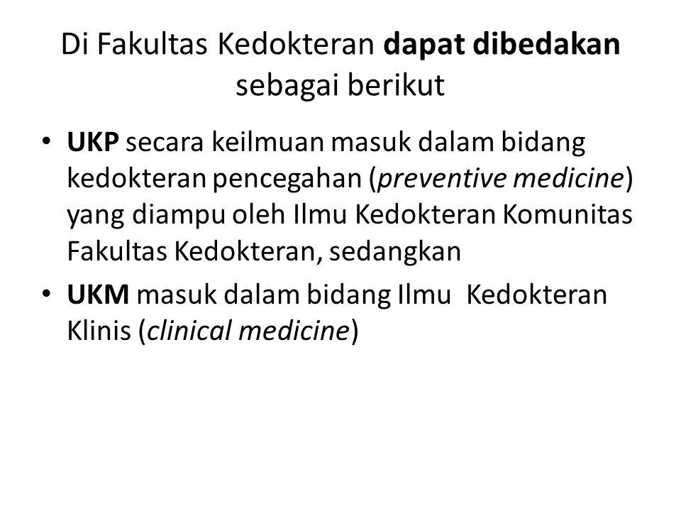 Di Fakultas Kedokteran dapat dibedakan sebagai berikut UKP secara keilmuan masuk dalam bidang kedokteran pencegahan (preventive medicine) yang diampu