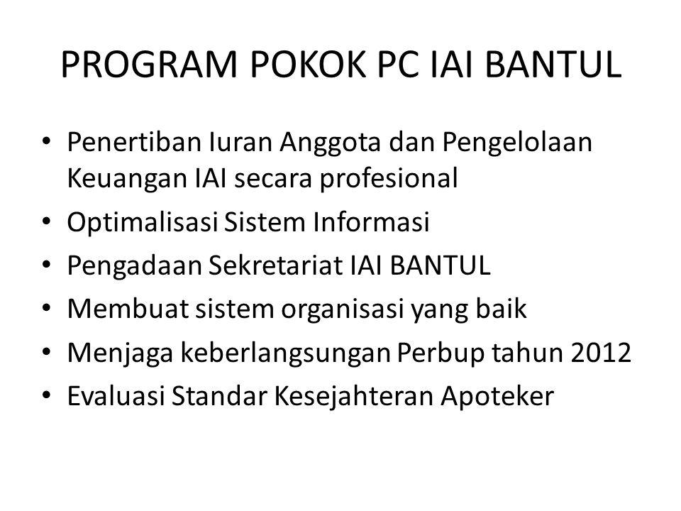 PROGRAM POKOK PC IAI BANTUL Penertiban Iuran Anggota dan Pengelolaan Keuangan IAI secara profesional Optimalisasi Sistem Informasi Pengadaan Sekretari