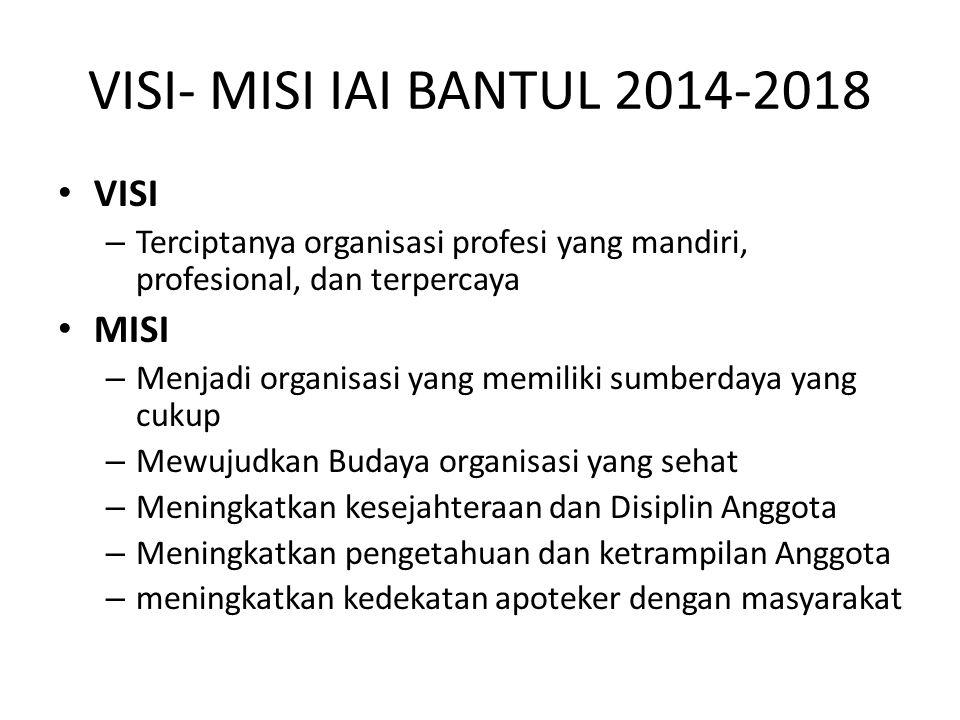 VISI- MISI IAI BANTUL 2014-2018 VISI – Terciptanya organisasi profesi yang mandiri, profesional, dan terpercaya MISI – Menjadi organisasi yang memilik
