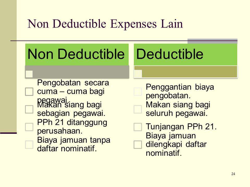 Non Deductible Expenses Lain Non Deductible Pengobatan secara cuma – cuma bagi pegawai.