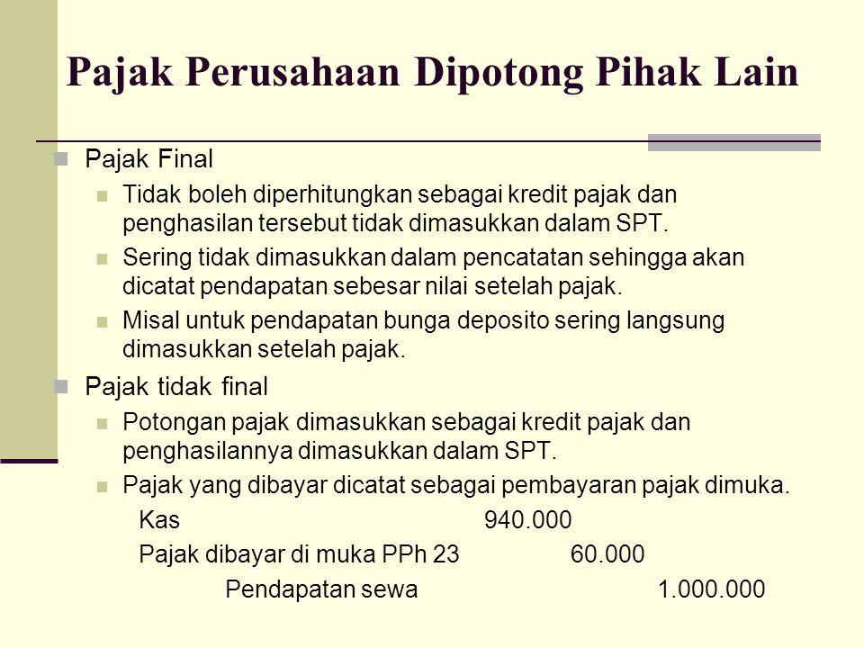 Pajak Final Tidak boleh diperhitungkan sebagai kredit pajak dan penghasilan tersebut tidak dimasukkan dalam SPT.