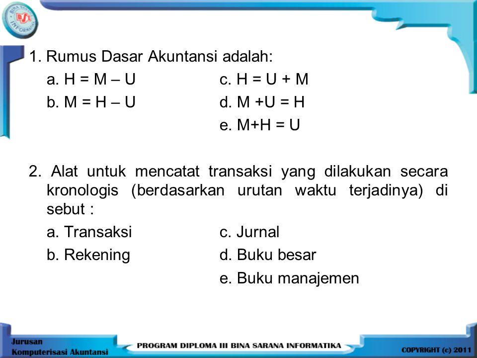 1. Rumus Dasar Akuntansi adalah: a. H = M – U c. H = U + M b. M = H – Ud. M +U = H e. M+H = U 2. Alat untuk mencatat transaksi yang dilakukan secara k