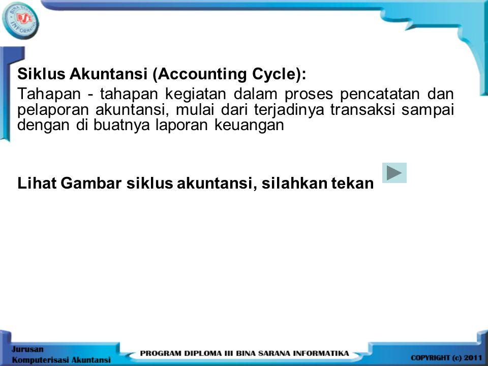 Siklus Akuntansi (Accounting Cycle): Tahapan - tahapan kegiatan dalam proses pencatatan dan pelaporan akuntansi, mulai dari terjadinya transaksi sampai dengan di buatnya laporan keuangan Lihat Gambar siklus akuntansi, silahkan tekan