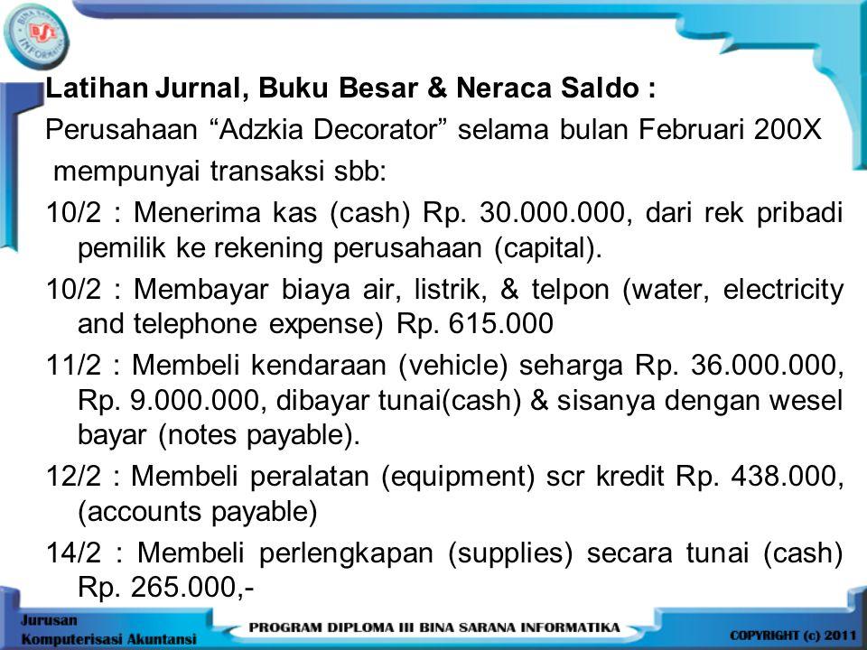 "Latihan Jurnal, Buku Besar & Neraca Saldo : Perusahaan ""Adzkia Decorator"" selama bulan Februari 200X mempunyai transaksi sbb: 10/2 : Menerima kas (cas"