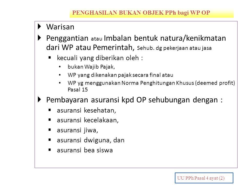 PENGHASILAN BUKAN OBJEK PPh bagi WP OP PENDAHULUAN UU PPh Pasal 4 ayat (2)  Warisan  Penggantian atau Imbalan bentuk natura/kenikmatan dari WP atau