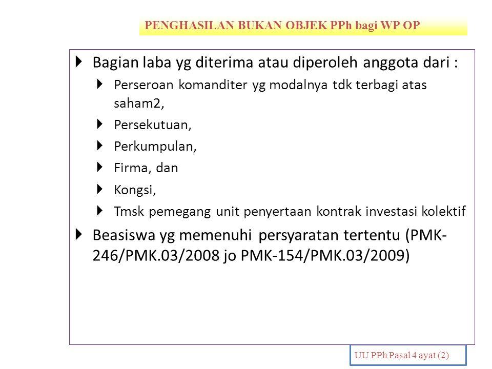 PENGHASILAN BUKAN OBJEK PPh bagi WP OP PENDAHULUAN UU PPh Pasal 4 ayat (2)  Bagian laba yg diterima atau diperoleh anggota dari :  Perseroan komandi