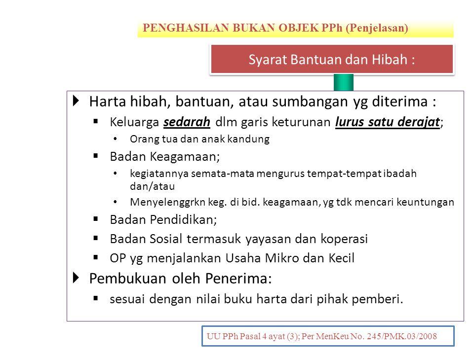 PENGHASILAN BUKAN OBJEK PPh (Penjelasan) PENDAHULUAN UU PPh Pasal 4 ayat (3); Per MenKeu No. 245/PMK.03/2008  Harta hibah, bantuan, atau sumbangan yg
