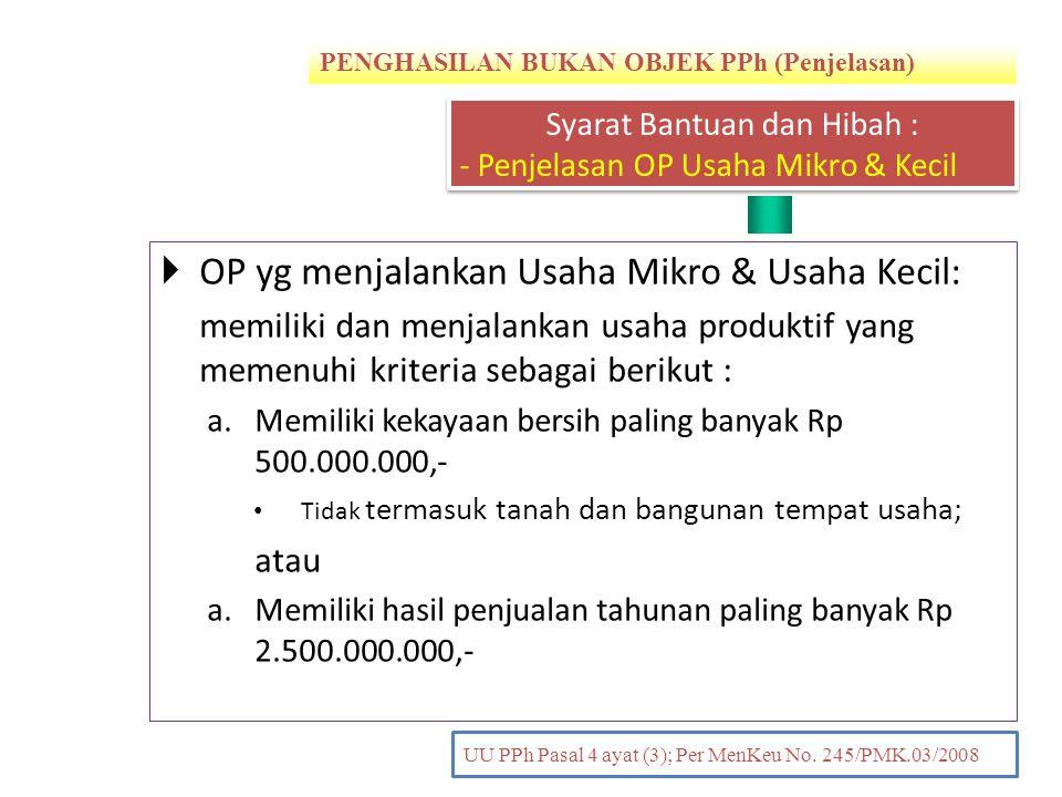 PENGHASILAN BUKAN OBJEK PPh (Penjelasan) PENDAHULUAN UU PPh Pasal 4 ayat (3); Per MenKeu No. 245/PMK.03/2008  OP yg menjalankan Usaha Mikro & Usaha K