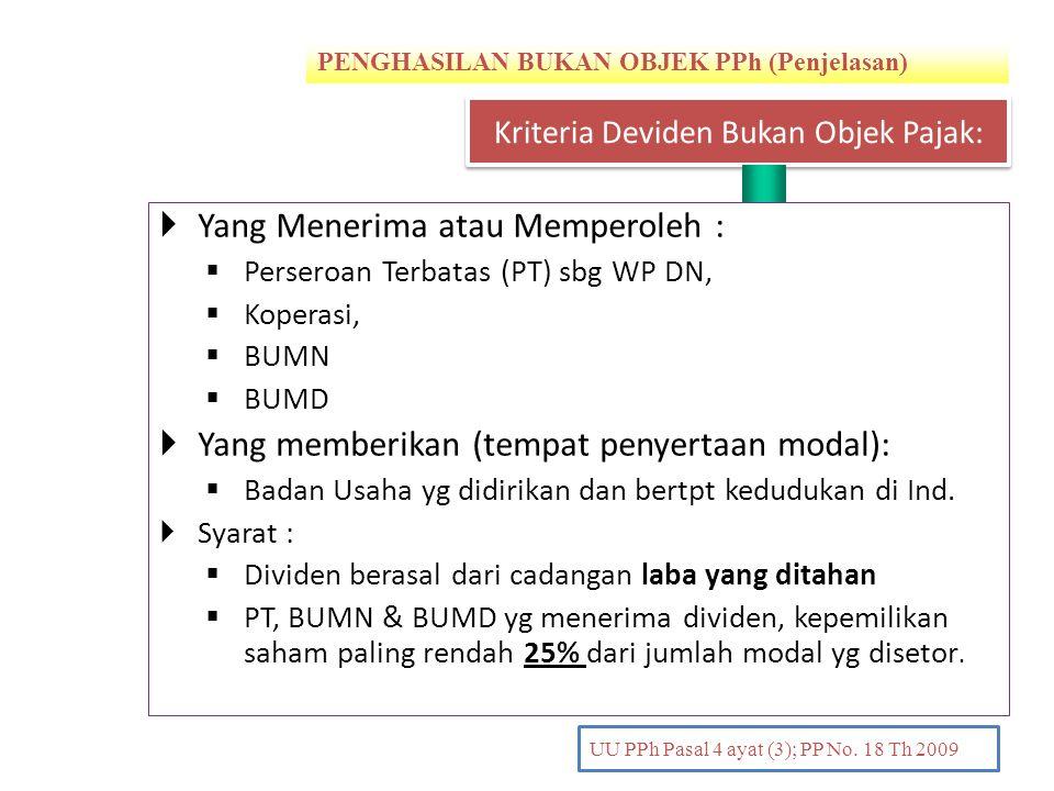 PENGHASILAN BUKAN OBJEK PPh (Penjelasan) PENDAHULUAN UU PPh Pasal 4 ayat (3); PP No. 18 Th 2009  Yang Menerima atau Memperoleh :  Perseroan Terbatas