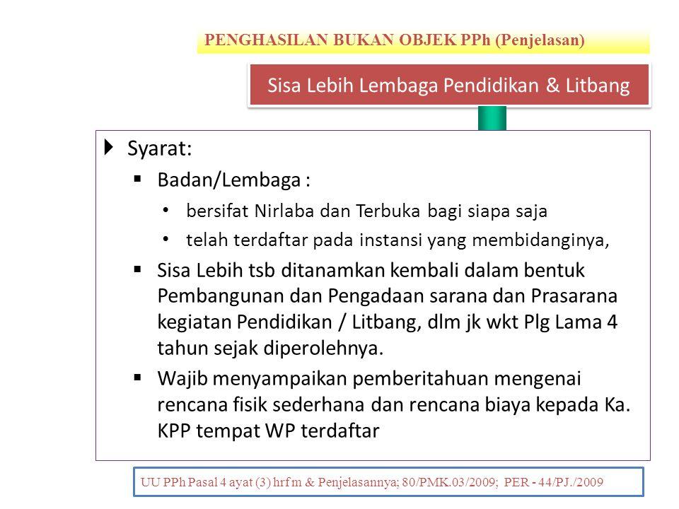 PENGHASILAN BUKAN OBJEK PPh (Penjelasan) PENDAHULUAN UU PPh Pasal 4 ayat (3) hrf m & Penjelasannya; 80/PMK.03/2009; PER - 44/PJ./2009  Syarat:  Bada
