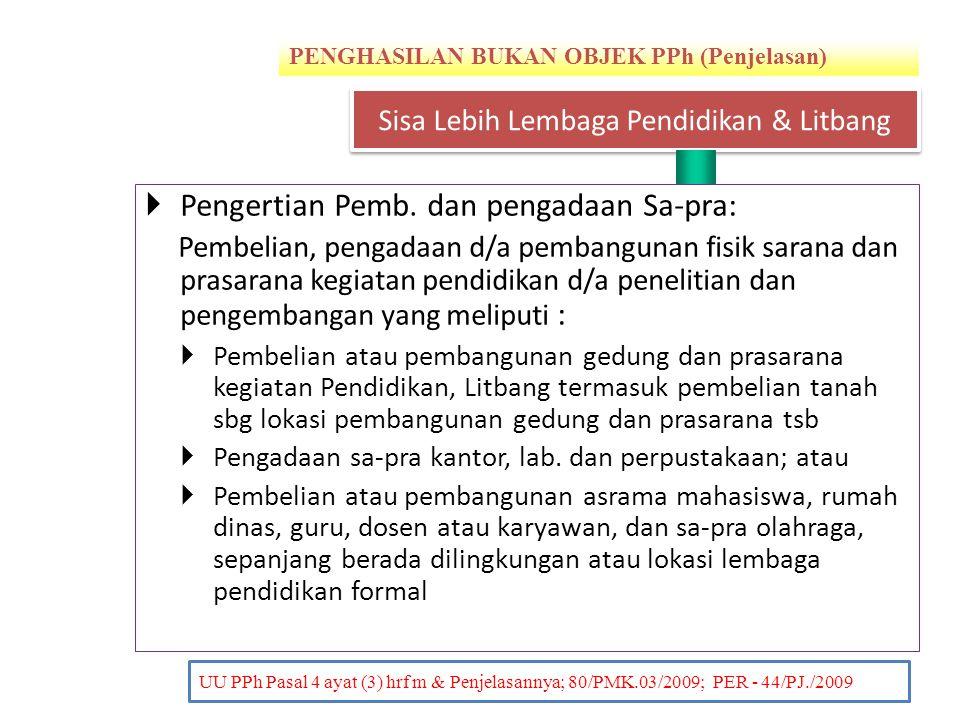 PENGHASILAN BUKAN OBJEK PPh (Penjelasan) PENDAHULUAN UU PPh Pasal 4 ayat (3) hrf m & Penjelasannya; 80/PMK.03/2009; PER - 44/PJ./2009  Pengertian Pem