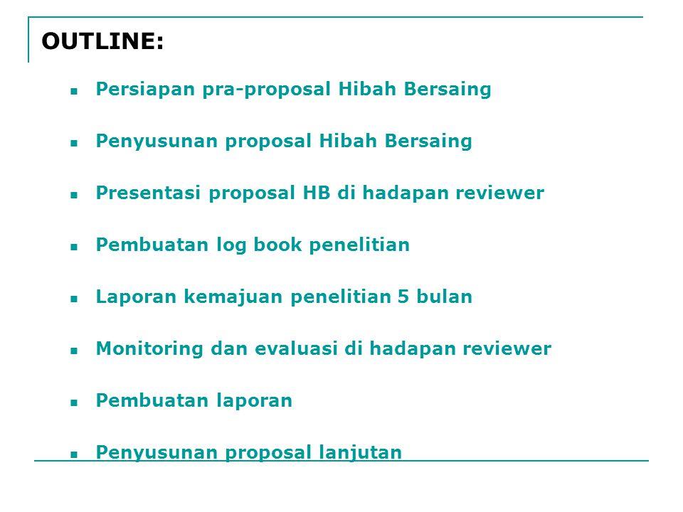 Persiapan pra-proposal Hibah Bersaing Penyusunan proposal Hibah Bersaing Presentasi proposal HB di hadapan reviewer Pembuatan log book penelitian Laporan kemajuan penelitian 5 bulan Monitoring dan evaluasi di hadapan reviewer Pembuatan laporan Penyusunan proposal lanjutan OUTLINE: