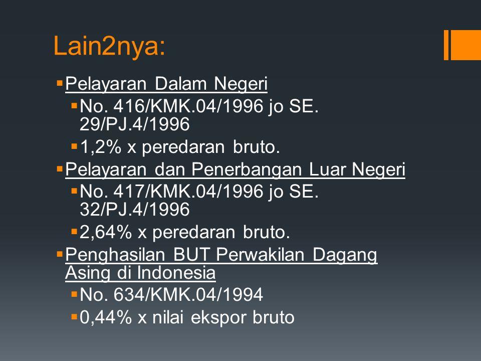 Selisih Lebih revaluasi Aktiva Tetap  No. 384/KMK.04/1998 jo SE. 29/PJ.42/1998  10% x (nilai pasar - sisa buku fiskal – kompensasi kerugian)  Jika
