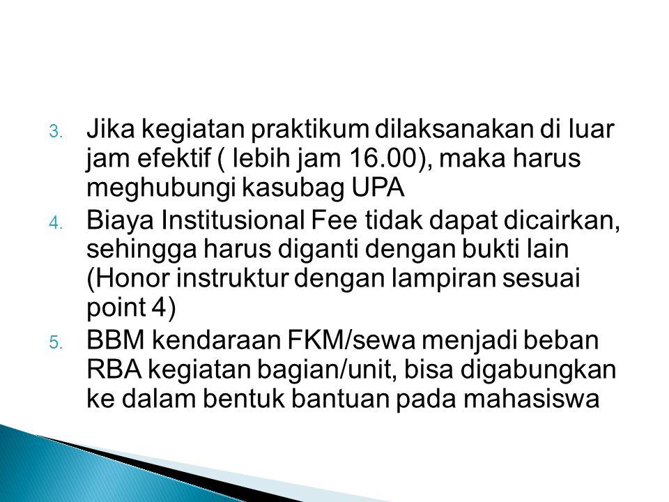 3. Jika kegiatan praktikum dilaksanakan di luar jam efektif ( lebih jam 16.00), maka harus meghubungi kasubag UPA 4. Biaya Institusional Fee tidak dap