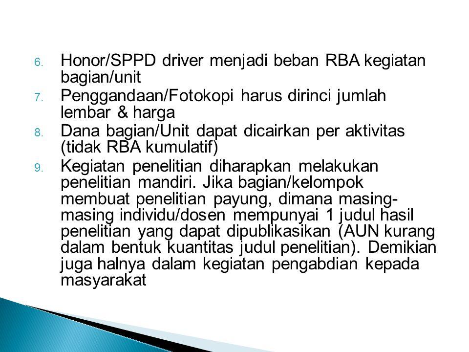 6. Honor/SPPD driver menjadi beban RBA kegiatan bagian/unit 7. Penggandaan/Fotokopi harus dirinci jumlah lembar & harga 8. Dana bagian/Unit dapat dica