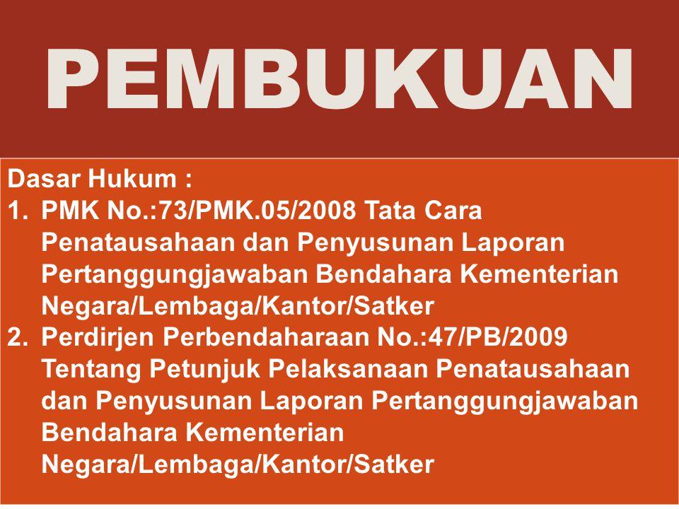 PEMBUKUAN Dasar Hukum : 1.PMK No.:73/PMK.05/2008 Tata Cara Penatausahaan dan Penyusunan Laporan Pertanggungjawaban Bendahara Kementerian Negara/Lembag
