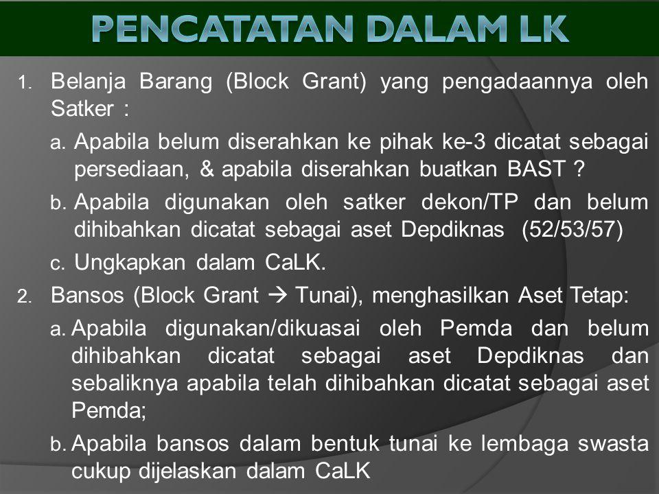 1. Belanja Barang (Block Grant) yang pengadaannya oleh Satker : a. Apabila belum diserahkan ke pihak ke-3 dicatat sebagai persediaan, & apabila disera