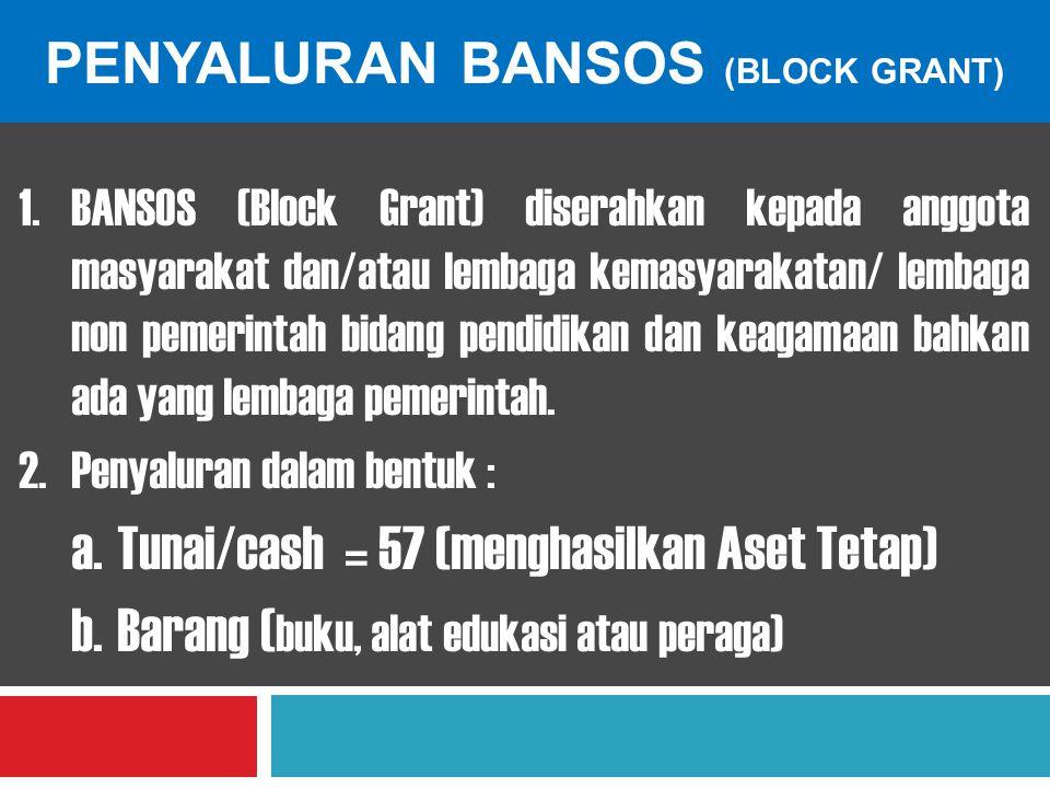 PENYALURAN BANSOS (BLOCK GRANT) 1.BANSOS (Block Grant) diserahkan kepada anggota masyarakat dan/atau lembaga kemasyarakatan/ lembaga non pemerintah bi