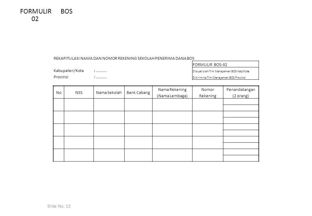 Slide No. 13 FORMULIR BOS 02 REKAPITULASI NAMA DAN NOMOR REKENING SEKOLAH PENERIMA DANA BOS FORMULIR BOS-02 Kabupaten/Kota:......... Dibuat oleh Tim M