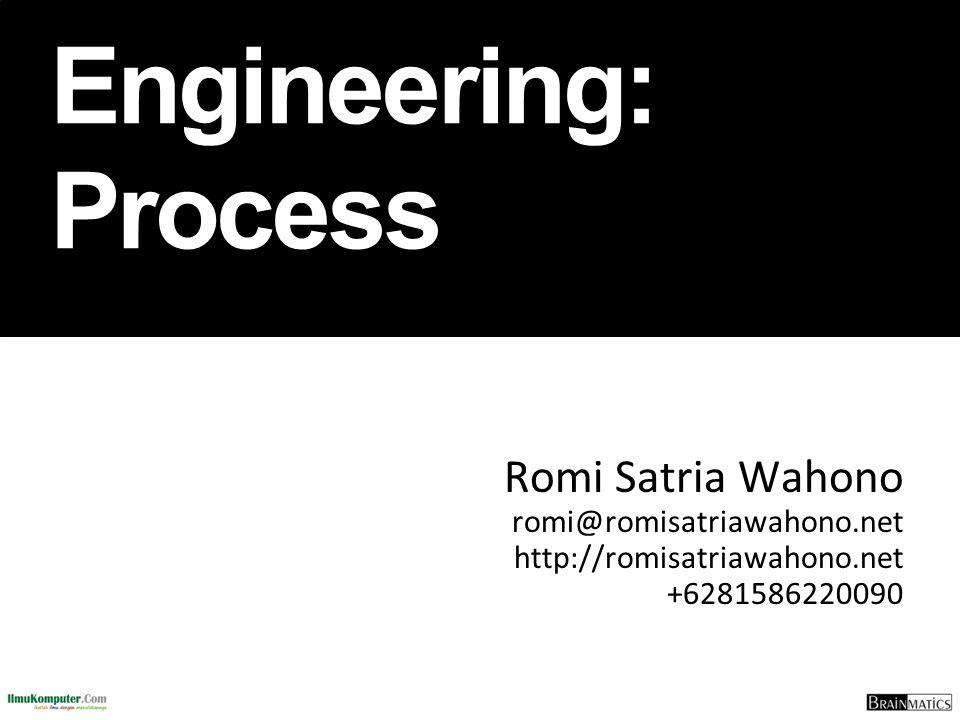 Software Engineering: Process Romi Satria Wahono romi@romisatriawahono.net http://romisatriawahono.net +6281586220090