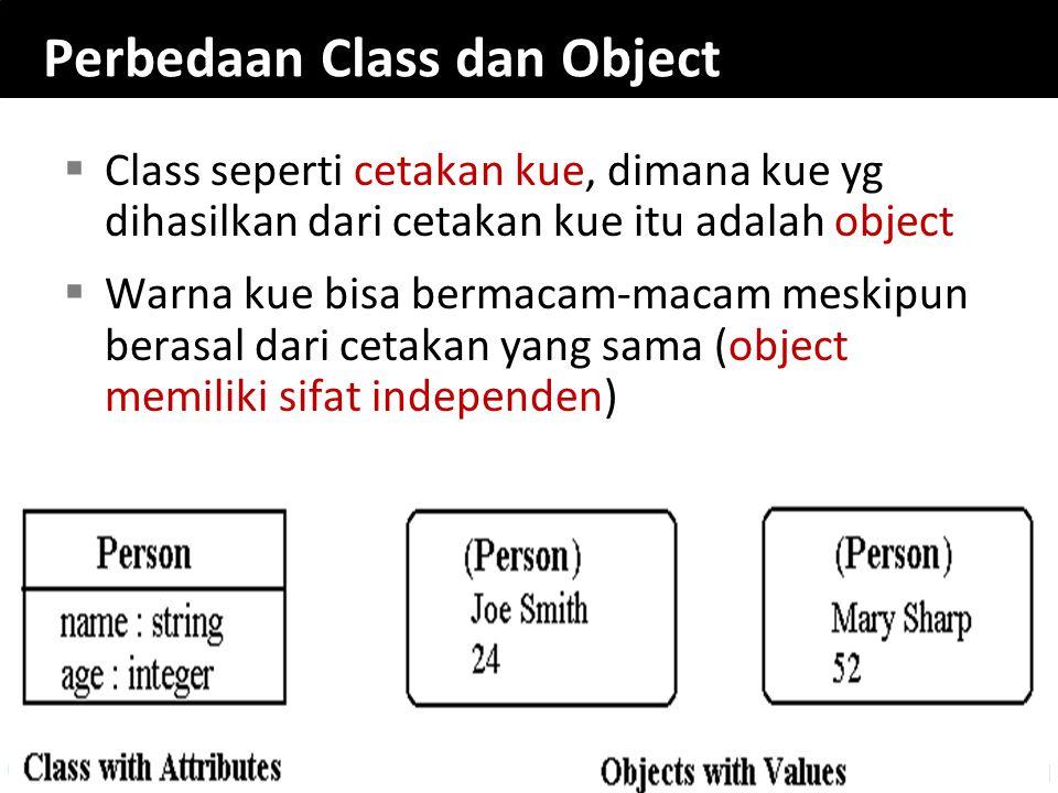 Perbedaan Class dan Object  Class seperti cetakan kue, dimana kue yg dihasilkan dari cetakan kue itu adalah object  Warna kue bisa bermacam-macam me