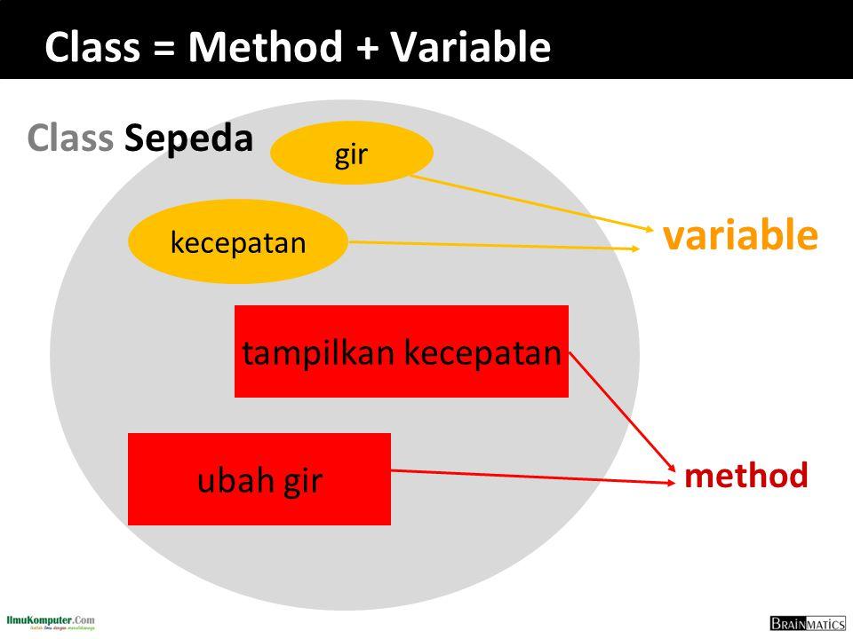Class = Method + Variable variable kecepatan gir tampilkan kecepatan ubah gir method Class Sepeda