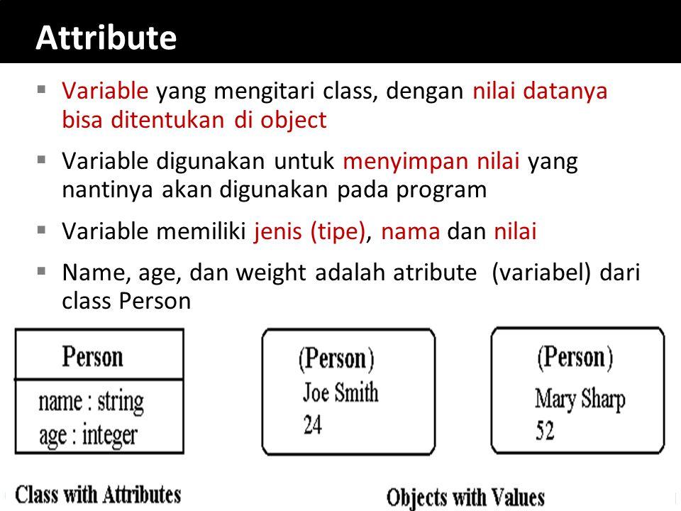 Attribute  Variable yang mengitari class, dengan nilai datanya bisa ditentukan di object  Variable digunakan untuk menyimpan nilai yang nantinya aka
