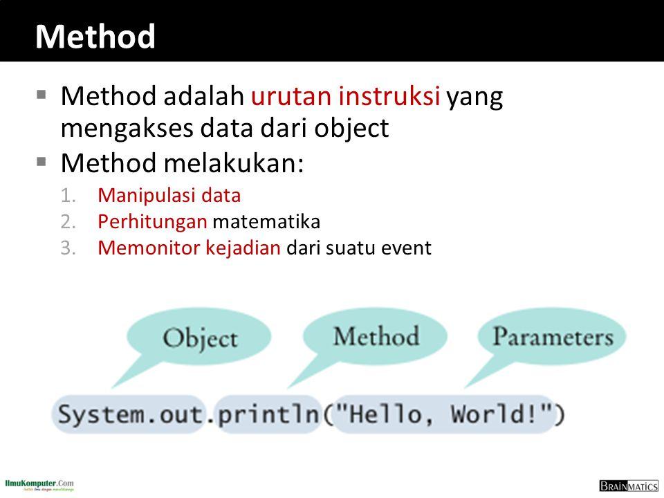 Method  Method adalah urutan instruksi yang mengakses data dari object  Method melakukan: 1.Manipulasi data 2.Perhitungan matematika 3.Memonitor kej