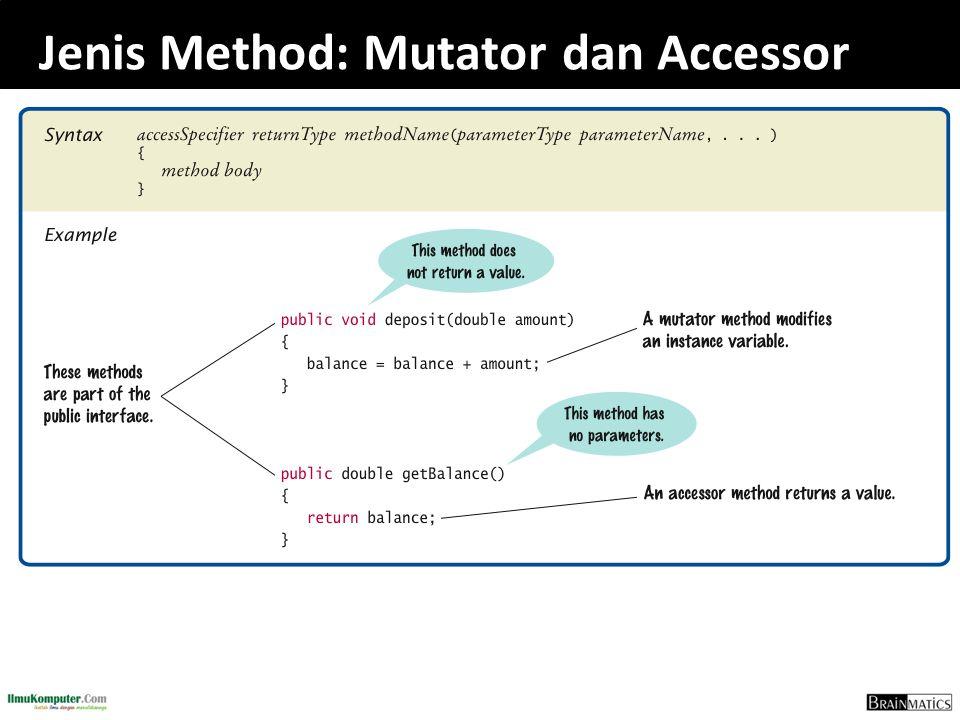 Jenis Method: Mutator dan Accessor