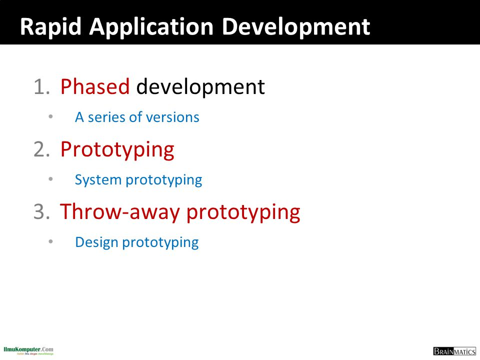 Rapid Application Development 1.Phased development A series of versions 2.Prototyping System prototyping 3.Throw-away prototyping Design prototyping
