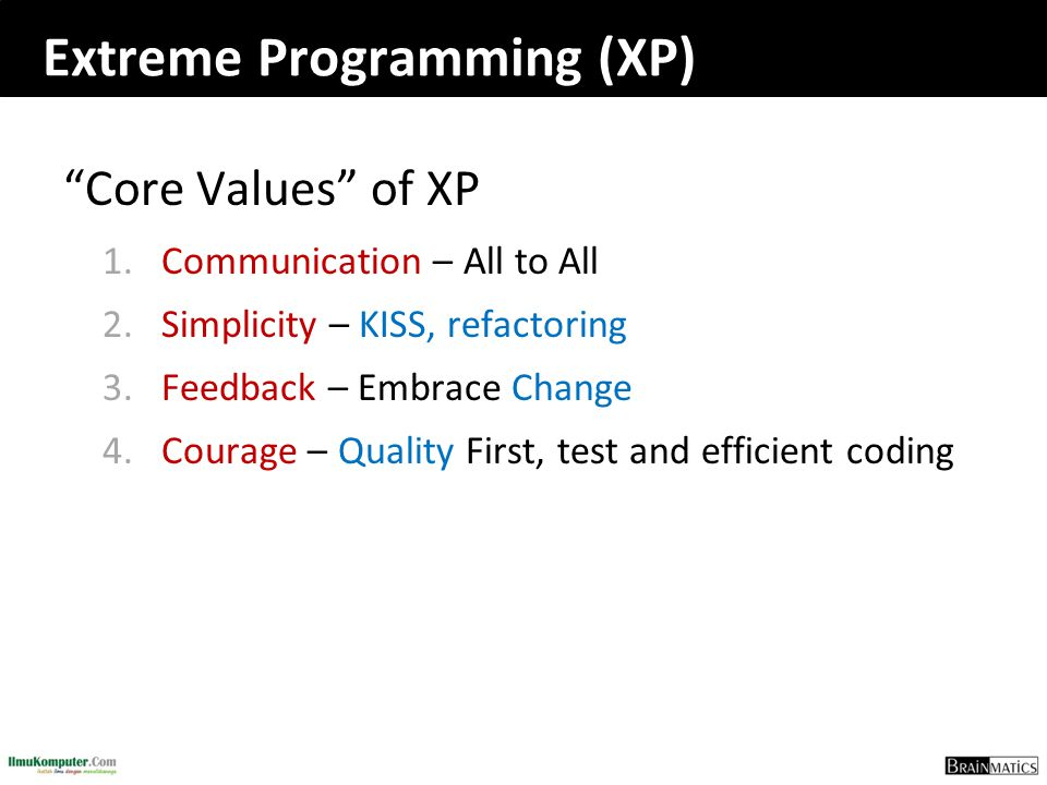 "Extreme Programming (XP) ""Core Values"" of XP 1.Communication – All to All 2.Simplicity – KISS, refactoring 3.Feedback – Embrace Change 4.Courage – Qua"