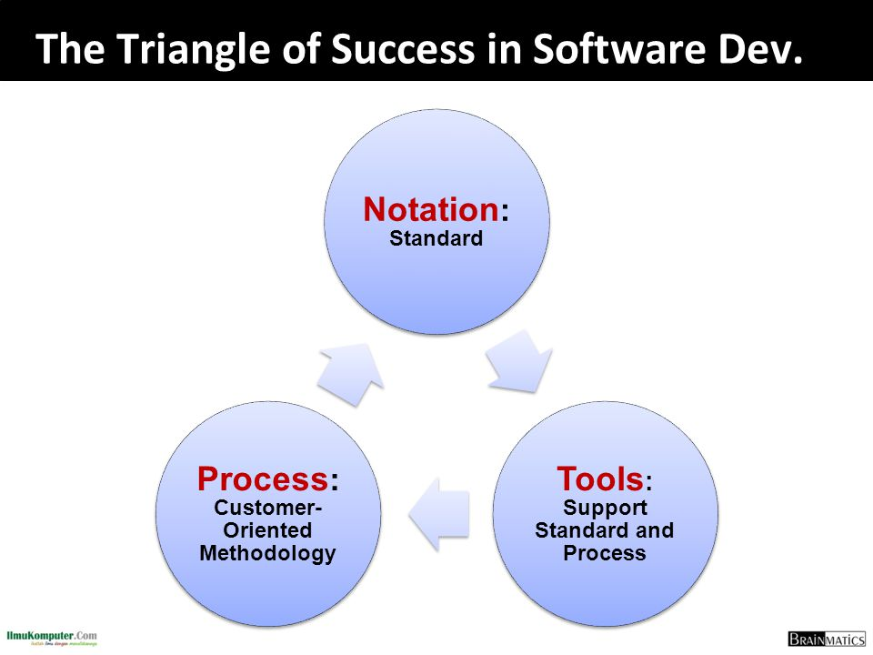 The Triangle of Success in Software Dev. Notation : Standard Tools : Support Standard and Process Process : Customer- Oriented Methodology