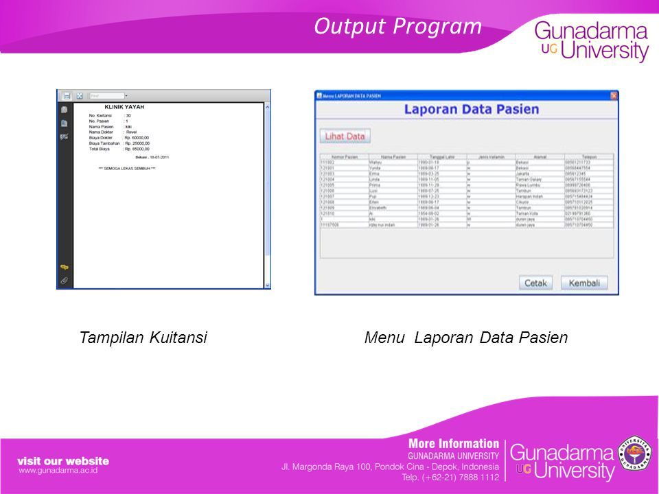 Output Program Tampilan KuitansiMenu Laporan Data Pasien