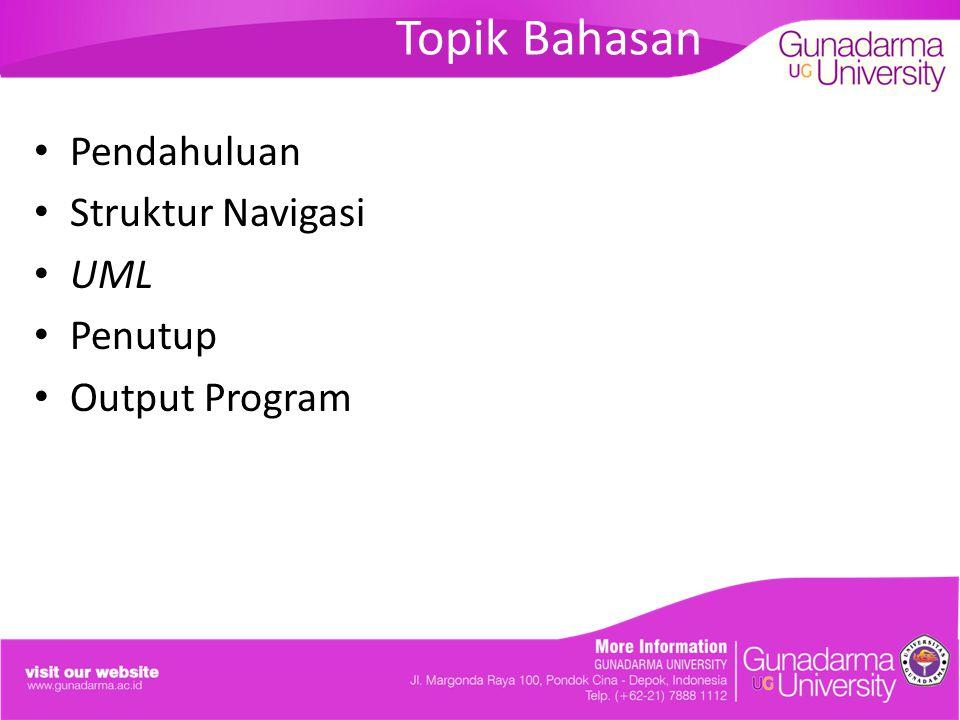 Topik Bahasan Pendahuluan Struktur Navigasi UML Penutup Output Program