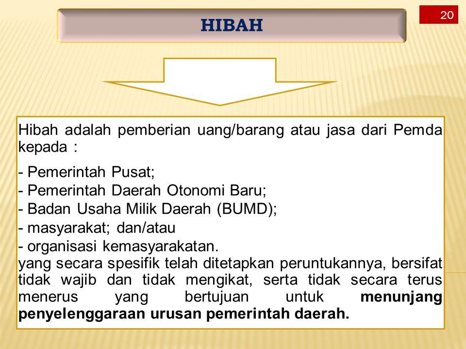 Hibah adalah pemberian uang/barang atau jasa dari Pemda kepada : - Pemerintah Pusat; - Pemerintah Daerah Otonomi Baru; - Badan Usaha Milik Daerah (BUM