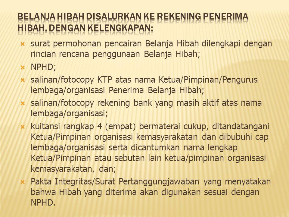  surat permohonan pencairan Belanja Hibah dilengkapi dengan rincian rencana penggunaan Belanja Hibah;  NPHD;  salinan/fotocopy KTP atas nama Ketua/
