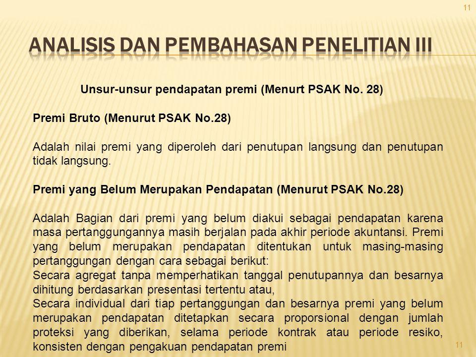 Unsur-unsur pendapatan premi (Menurt PSAK No. 28) Premi Bruto (Menurut PSAK No.28) Adalah nilai premi yang diperoleh dari penutupan langsung dan penut