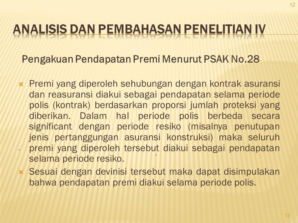 Pengakuan Pendapatan Premi Menurut PSAK No.28  Premi yang diperoleh sehubungan dengan kontrak asuransi dan reasuransi diakui sebagai pendapatan selam
