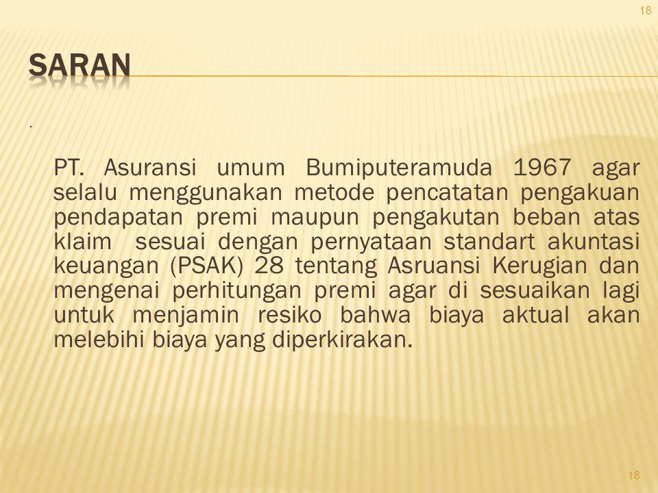 . PT. Asuransi umum Bumiputeramuda 1967 agar selalu menggunakan metode pencatatan pengakuan pendapatan premi maupun pengakutan beban atas klaim sesuai