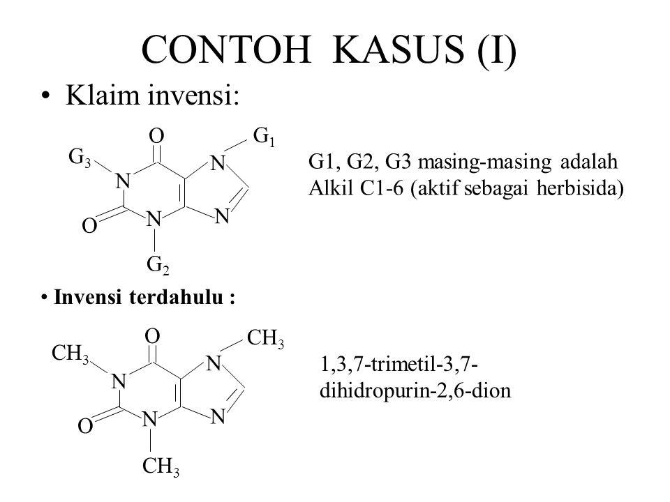 CONTOH KASUS (I) Klaim invensi: G1, G2, G3 masing-masing adalah Alkil C1-6 (aktif sebagai herbisida) 1,3,7-trimetil-3,7- dihidropurin-2,6-dion Invensi