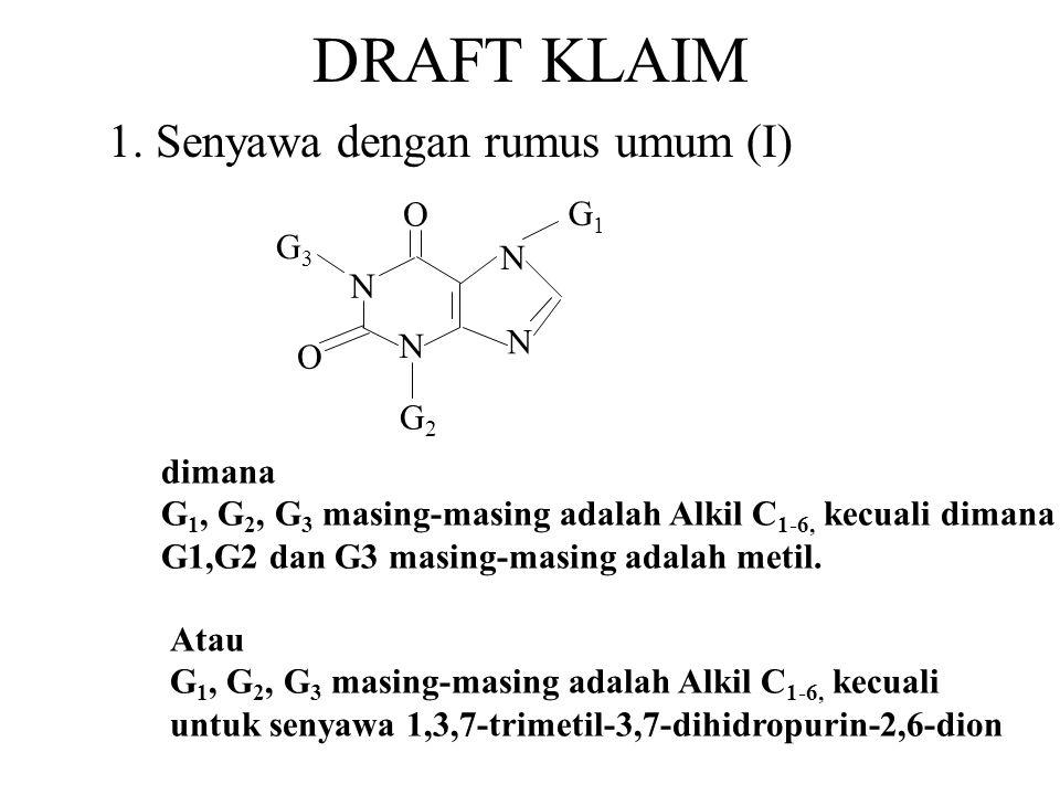 DRAFT KLAIM 1. Senyawa dengan rumus umum (I) dimana G 1, G 2, G 3 masing-masing adalah Alkil C 1-6, kecuali dimana G1,G2 dan G3 masing-masing adalah m