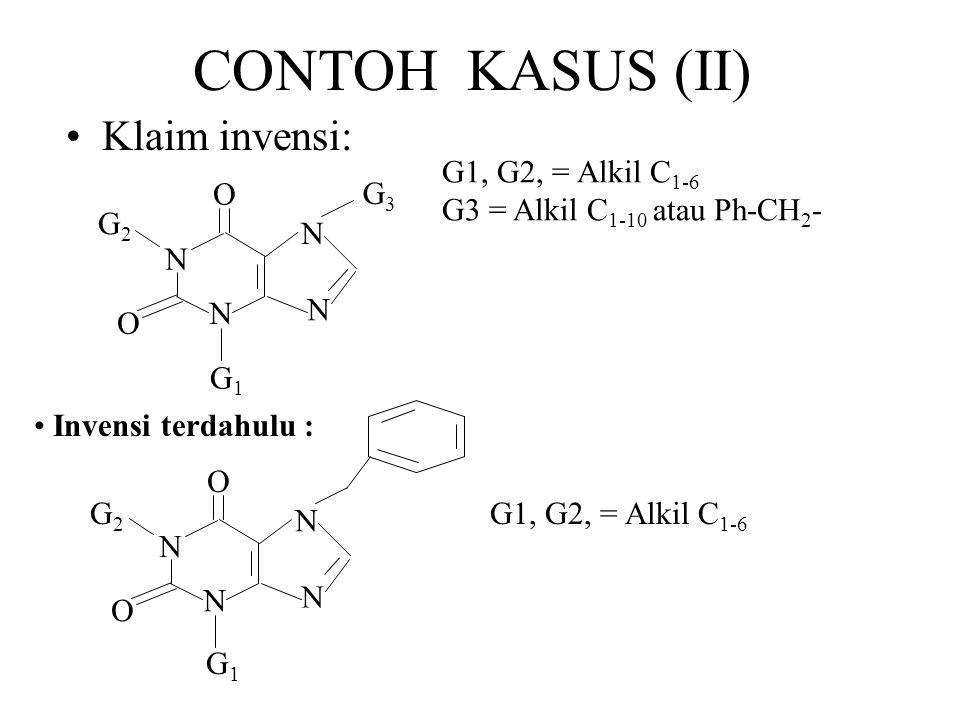 CONTOH KASUS (II) Klaim invensi: G1, G2, = Alkil C 1-6 G3 = Alkil C 1-10 atau Ph-CH 2 - Invensi terdahulu : N N O N N G3G3 G1G1 O G2G2 N N O N N O G2G