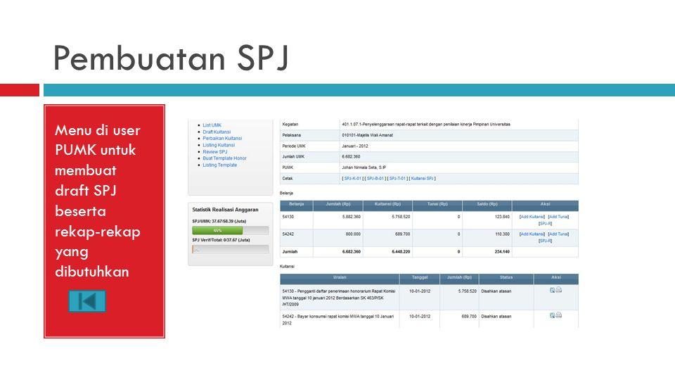 Pembuatan SPJ Menu di user PUMK untuk membuat draft SPJ beserta rekap-rekap yang dibutuhkan